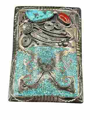 STERLING SILVER AND TURQUOISE ARTISIAN BELT BUCKLE