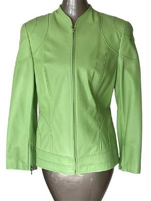 ESCADA LIME GREEN LEATHER ZIP FRONT JACKET