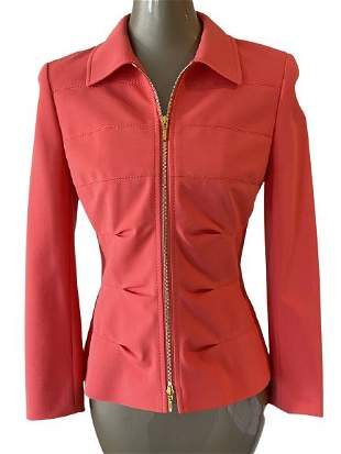 ESCADA CORAL FITTED ZIP UP JACKET SZ 36