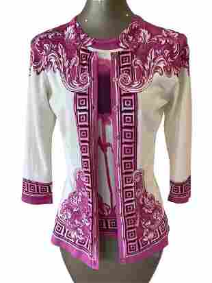 VERSACE COLLECTION PINK AND CREAM TWIN SET SZ S