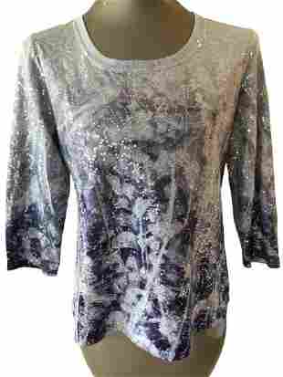 VTG CHICO ZENERGY SEQUIN POLYESTER TOP SIZE 0