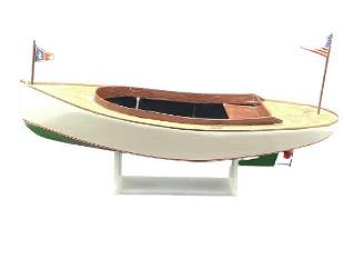 VINTAGE WOOD HAND MADE MODEL BOAT ON STAND