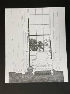 """D. HOCKNEY CHAIR & WINDOW SIGNED LITHO PRINT 17"""""""
