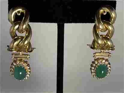 EMERALD AND DIAMOND14K GOLD PIERCED EARRINGS