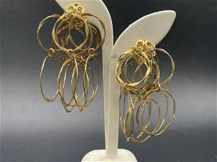 18K GOLD DANGLING MULTI HOOP EARRINGS