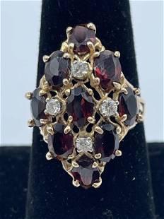 DIAMOND AND GARNET 14K COCKTAIL RING SZ 7