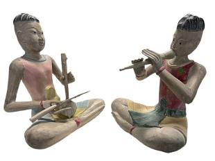 """PAIR OF ASIAN THAI SEATED CARVED WOOD STATUES 24"""""""