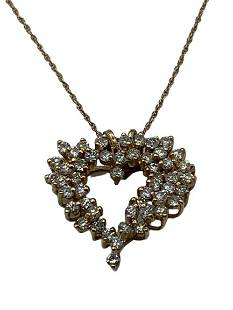 14 K 3 CT. DIAMOND HEART PENDANT CHAIN ORG. 2000