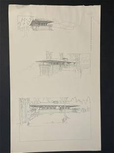 FRANK LLOYD WRIGHT ARCHITECTURAL DRAWING LITHO