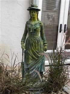 LIFE SIZE METAL VICTORIAN WOMAN GARDENS STATUE
