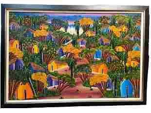 """M. LOUIS HAITIAN FOLK ART LANDSCAPE PAINTING 65"""""""