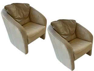 VINTAGE BEIGE LEATHER ROCHE BOBOIS CLUB CHAIRS