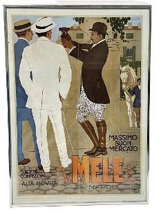 "VINTAGE A&E MELE ITALIAN ADVERTISING POSTER 28"""