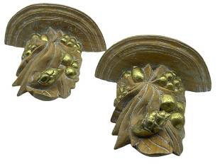 PAIR OF CARVED WOOD SCONCES WITH GOLD TRIM