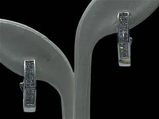 14K WHITE GOLD 1.5 CT DIAMOND HOOP EARRINGS