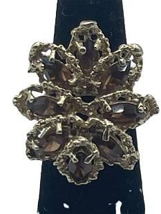 ELEGANT 14K GOLD AND TOPAZ COCKTAIL RING
