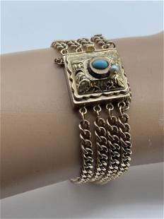 STUNNING 14K GOLD TURQUOISE AND PEARL BRACELET