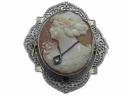 ANTIQUE SILVER FILIGREE CAMEO PENDANT WITH DIAMOND