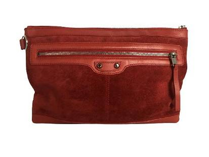 VINTAGE BALENCIAGA RED LEATHER CLASSIC CLIP POUCH