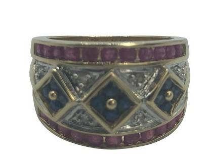 14K GOLD AND GEMSTONE RING SIZE 6.5