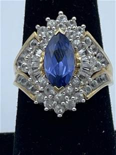 DIAMOND, SAPPHIRE AND 10k GOLD COCKTAIL RING SZ 7