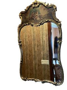"""19C. FRENCH ANTIQUE STYLE HAND PAINTED MIRROR 48"""""""