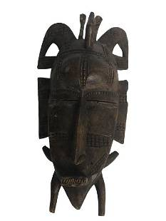 VINTAGE CARVED WOOD AFRICAN-STYLE TRIBAL MASK