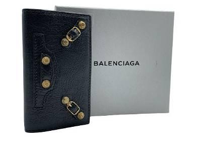 VINTAGE BALENCIAGA GRAY LEATHER CONTINENTAL WALLET
