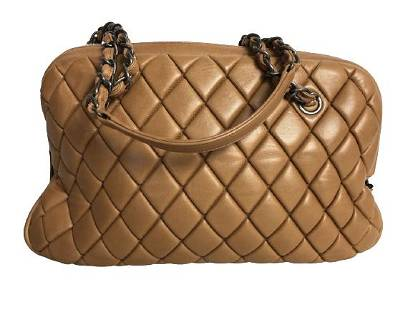 VTG CHANEL TAN QUILTED LAMBSKIN CC DOME BAG