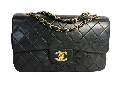 VTG CHANEL BLACK LAMBSKIN QUILTED CLASSIC BAG