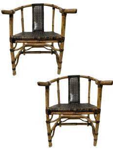 """PAIR OF 1950'S MCGUIRE BAMBOO RATTAN CHAIRS 32"""""""