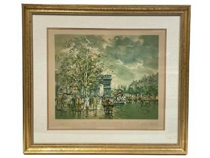 "A. BLANCHARD ""PARIS 1900"" LITHOGRAPH PRINT 34"""