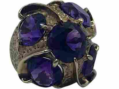 14K GOLD AND AMETHYST COCKTAIL RING SIZE 5 1/4