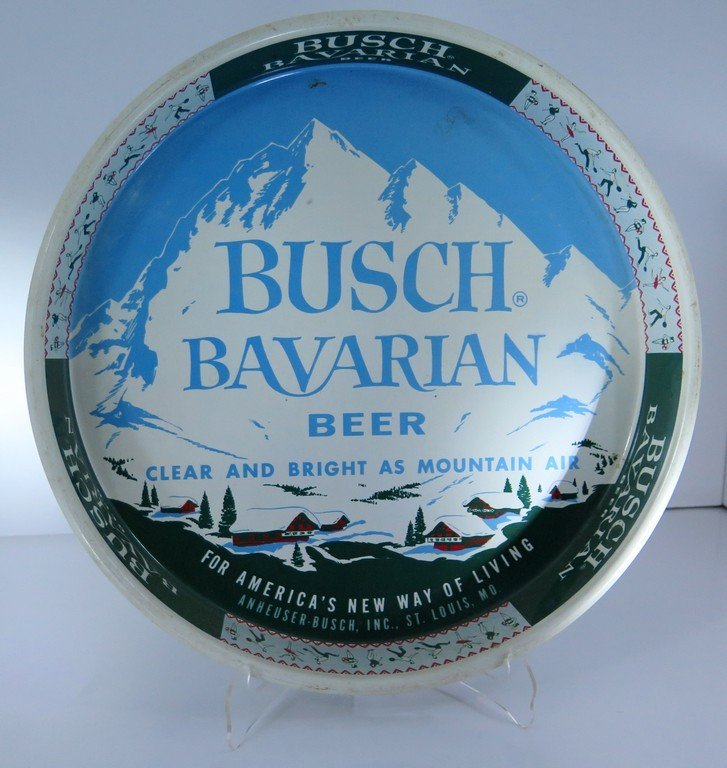 BUSCH BAVARIAN BEER TRAY ORIGINAL clear and bright as