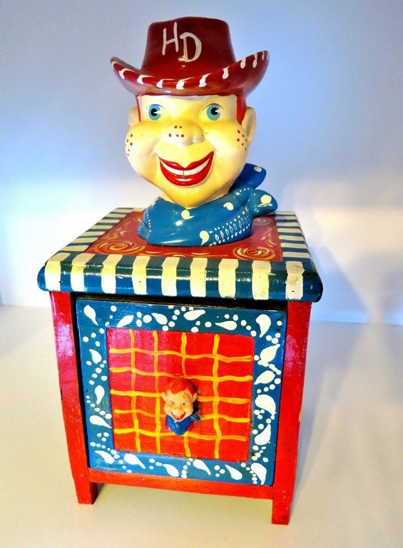 Howdy Doody Folk Art Storage or Toy Container with