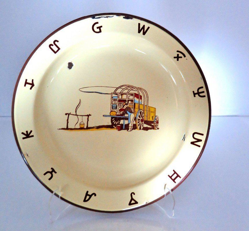 Enamelware Western Bowl Depicting Cowboy Cook – Some