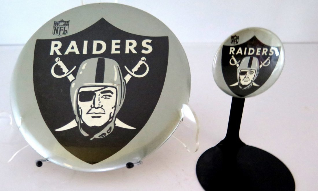 (2) Official NFL Raiders Pin Back Buttons – Minimal