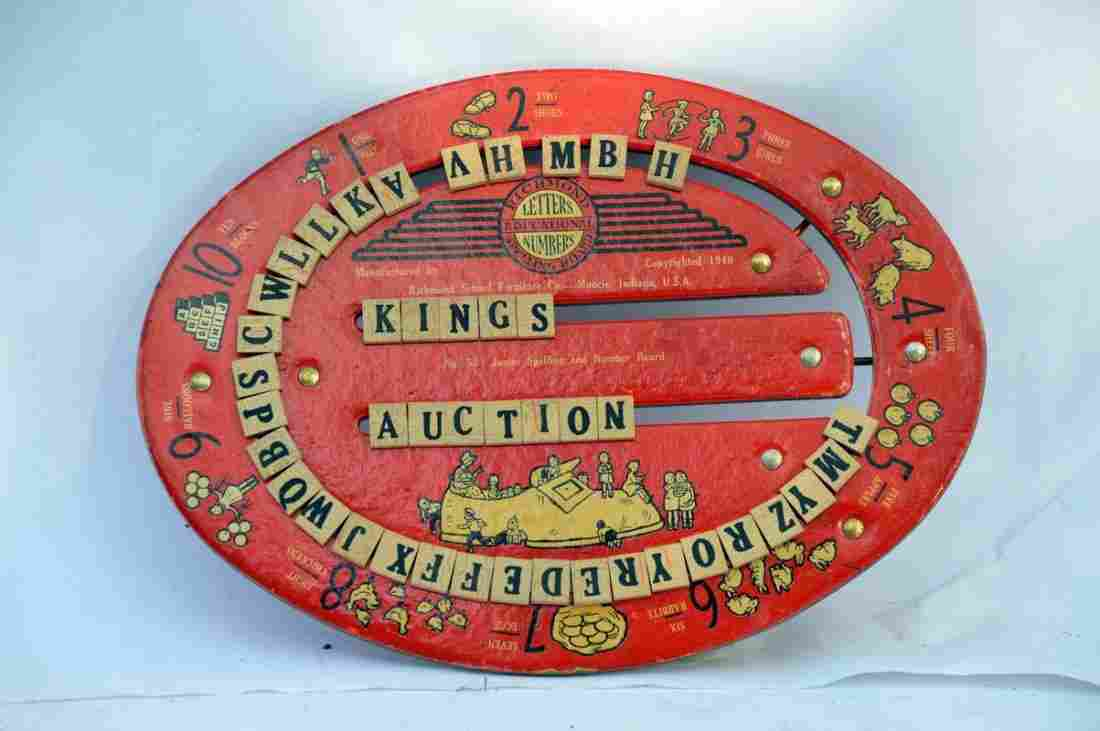 Vintage Letters and Numbers Spelling Board