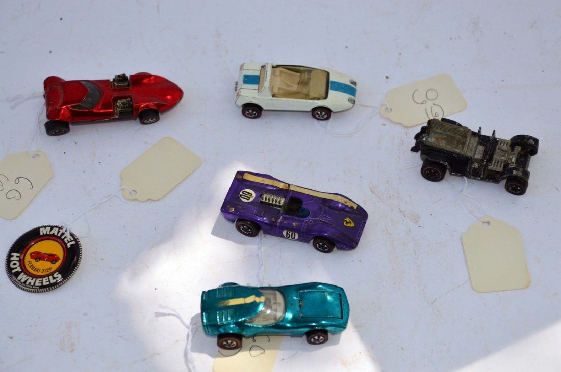 4 Vintage Redline Hot wheels Cars and Pin