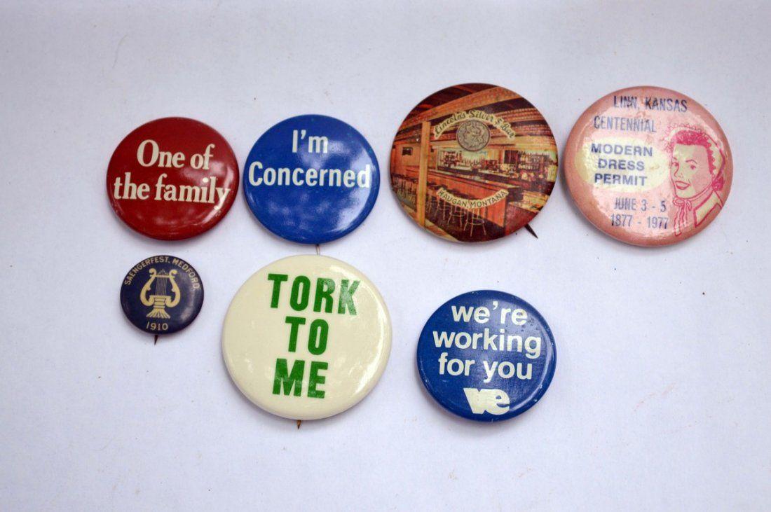 7 Vintage Pin Backs