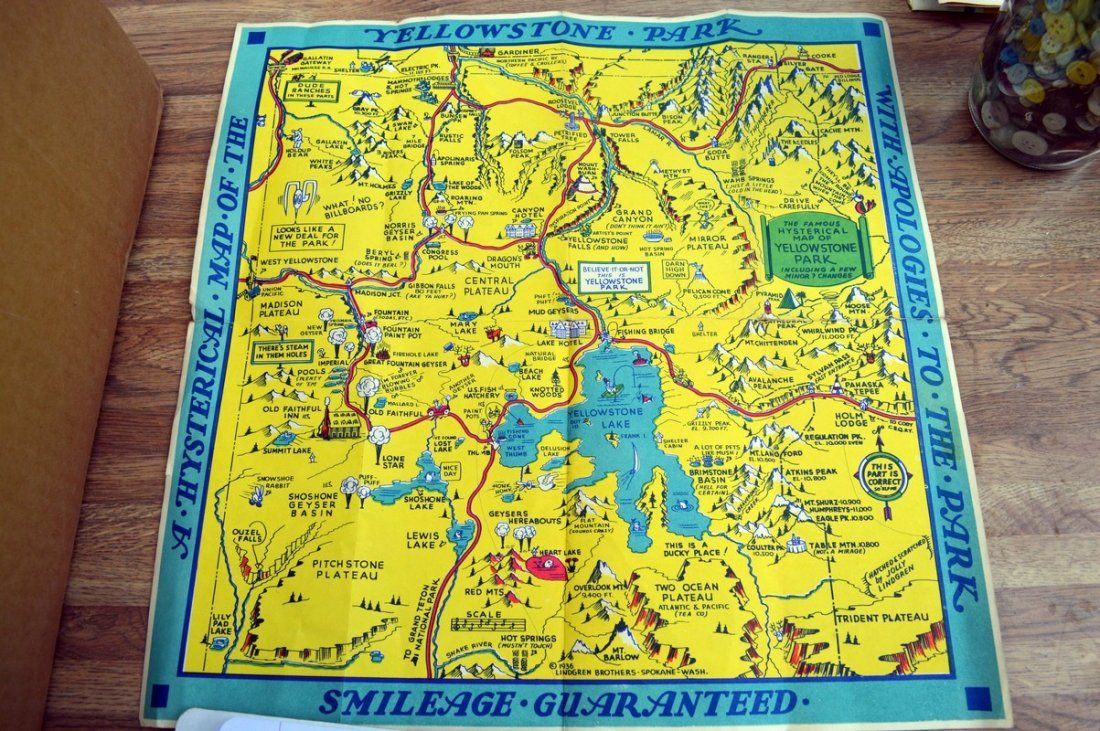 Vintage 1948 Yellowstone Park Map