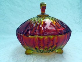 Vintage Red Amberina Optic Dish With Lid