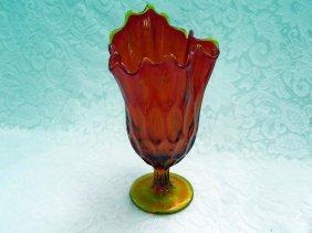 Vintage Tangerine Amberina Swung Vase