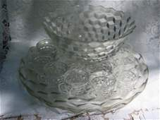 Fostoria American Cubist Punch Bowl Set