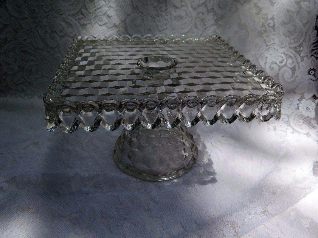 Fostoria American Cubist Cake Platter