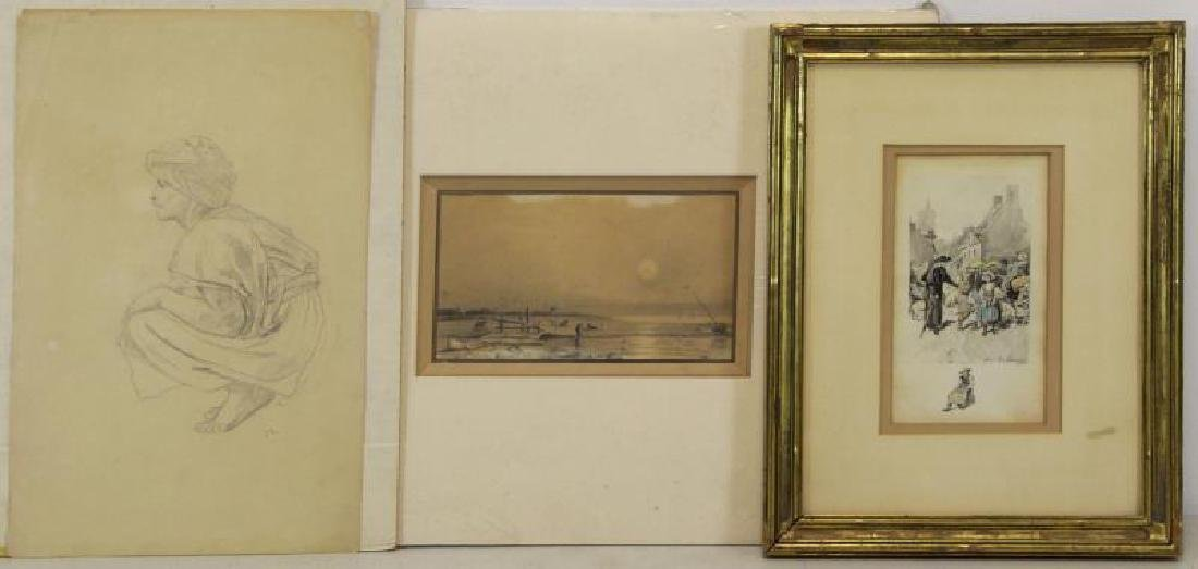 Lot of Three 19th C. French Drawings.