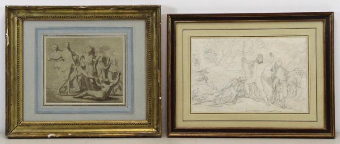 Lot of Two 19th C. Neoclassical Works on Paper.