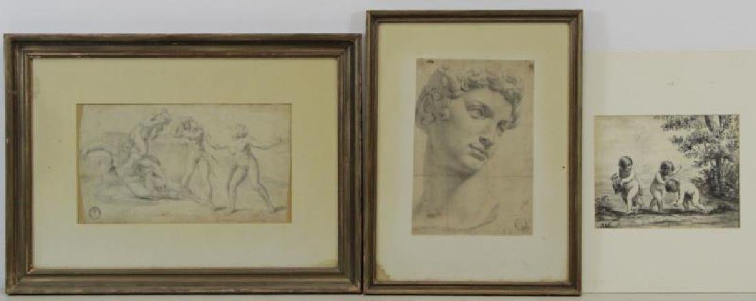 Lot of Three 18th/19th C. Drawings.