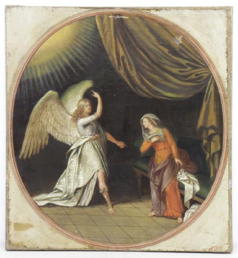19th C. Oil on Canvas. The Annunciation.
