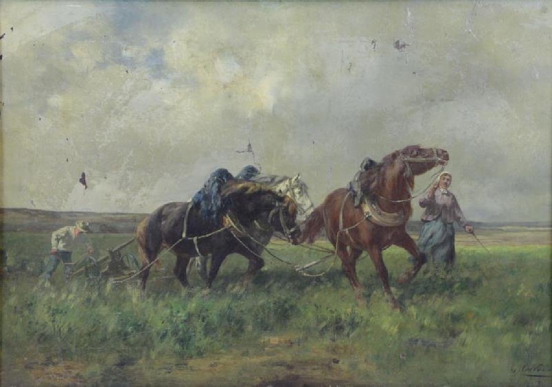 CORTES, Andres. Oil on Canvas. Plowing the Field.